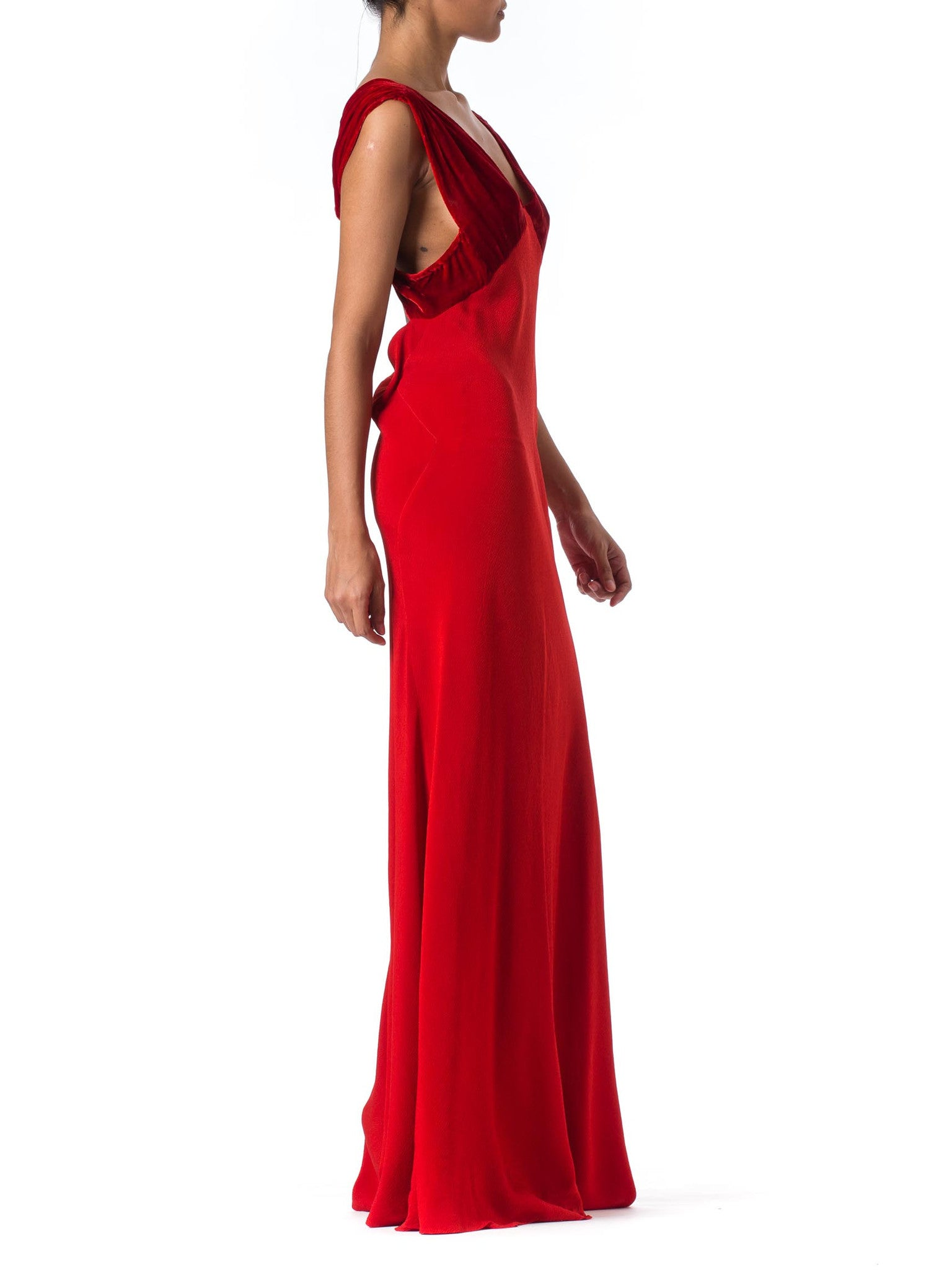 1930s Red Bias Cut Gown – MORPHEW
