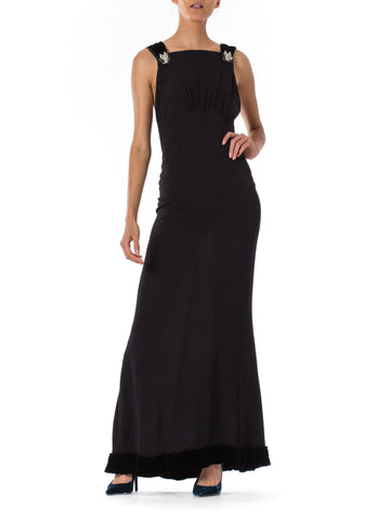 1930s Bias Cut Black Silk crepe  and Velvet detail Sleeveless Gown