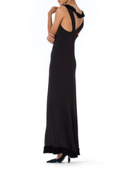 1930S Silk Crepe Bias Cut Black  And Velvet Detail Sleeveless Gown