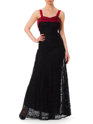 1930S Black Rayon Lace Bias Cut Gown With Raspberry Velvet Trim
