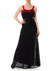 1930s Bias Cut Lace and Velvet Gown