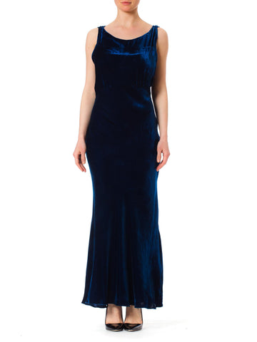 1930s Bias Cut Silk Velvet Blue Backless Gown