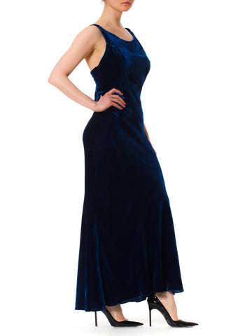 1930S Sapphire Blue  Bias Cut Silk Velvet Backless Gown Few Small As-Is Details