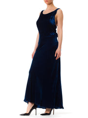 1930S Velvet Bias Cut And Backless Gown