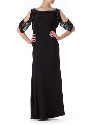 1930S Black Bias Cut Rayon Crepe Gown With Celluloid Sequin Peek-A-Boo Sleeves
