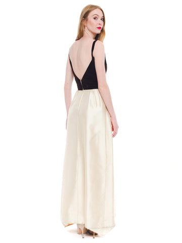 1950S NINA RICCI Ivory Silk & Brown Velvet Gown With Evening Cape