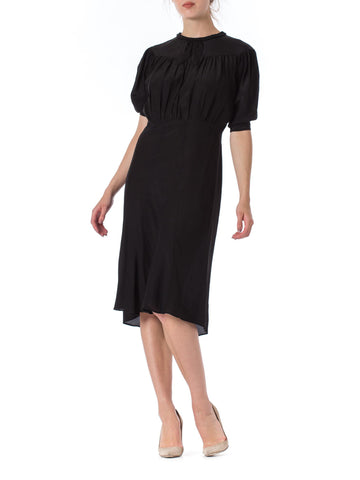 1930s Black Silk Neck Tie Short Sleeve Dress