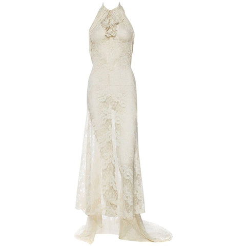 Backless 1930s Spider Lace Dress with Train