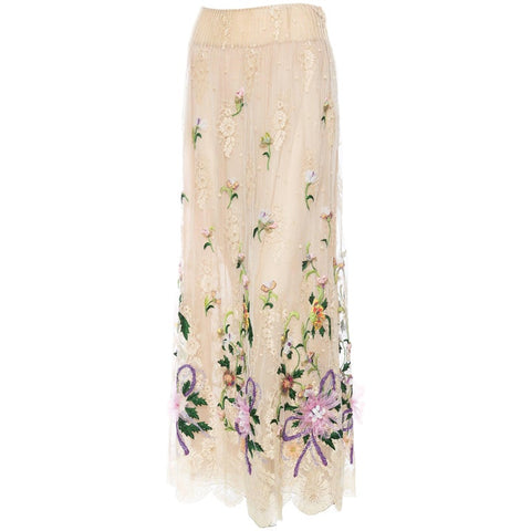 2000S Valentino Ecru Silk & Lace Skirt With Hand Embroidery And Ribbonwork