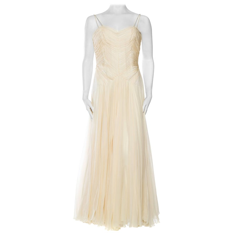 1960S RICHILENE Ivory Demi-Couture Silk Chiffon Mdm Gres Style Goddess Gown With Hand-Stitched Bodice And Miles Of Fabric