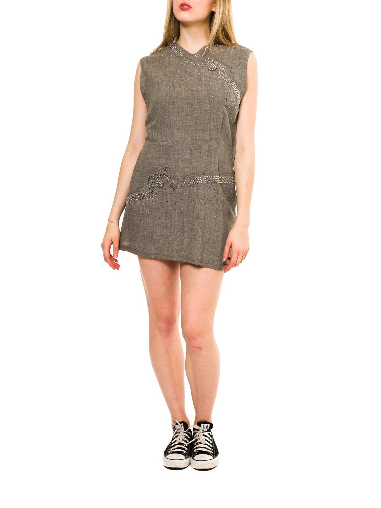 1940S Heather Grey Wool Silver Metal Studded Mini Dress Tunic