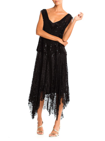 Large Size 1920s Beaded Silk Lace Dress