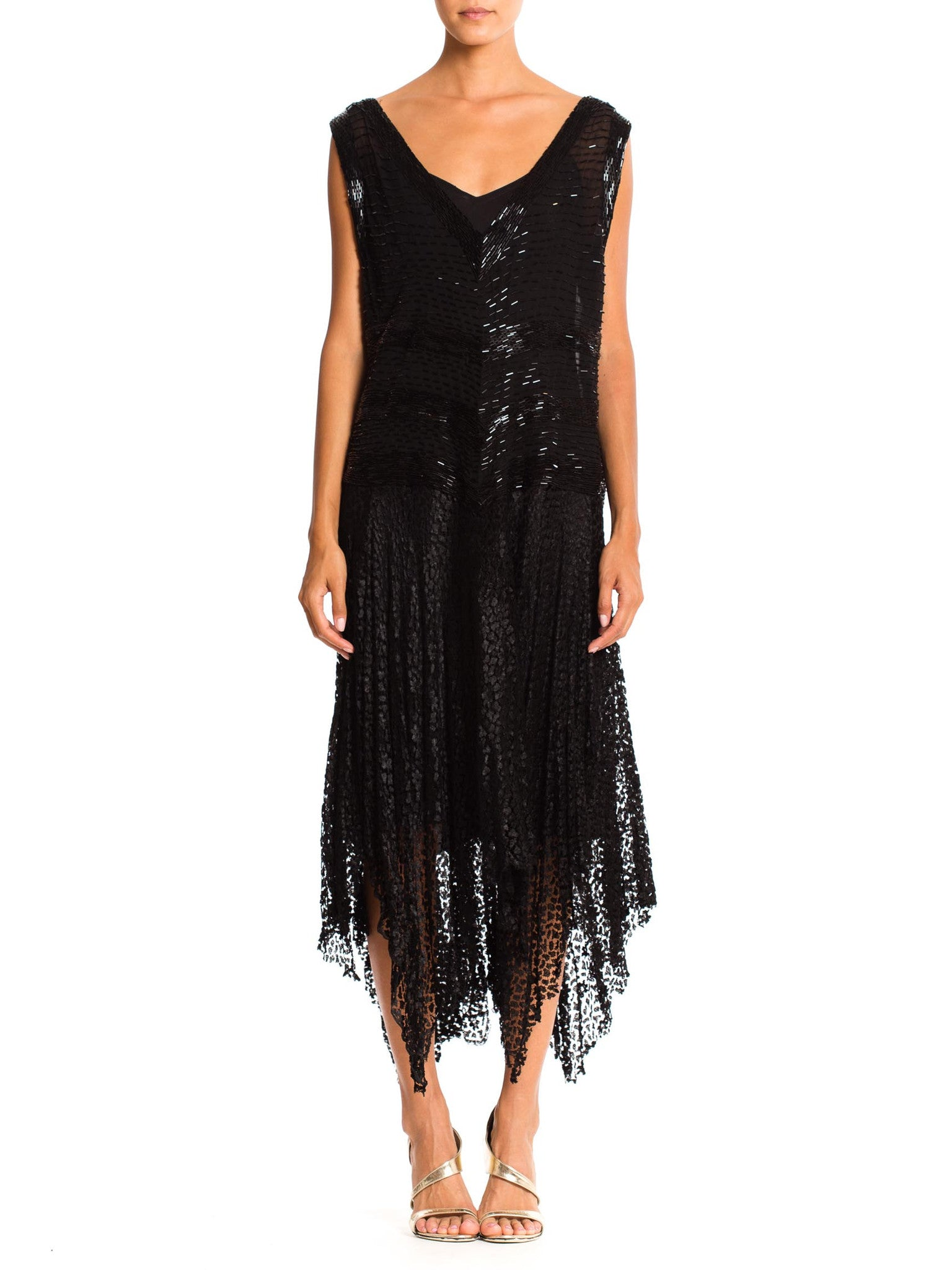 1920'S Silk Beaded Lace Dress