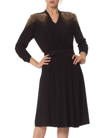 1940S  Black Rayon Belted Dress With Deco Beaded Shoulders