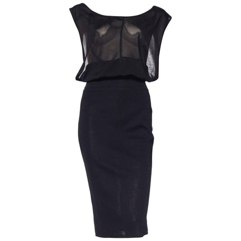 Alaia Black Backless Knit Draped Bodycon Dress