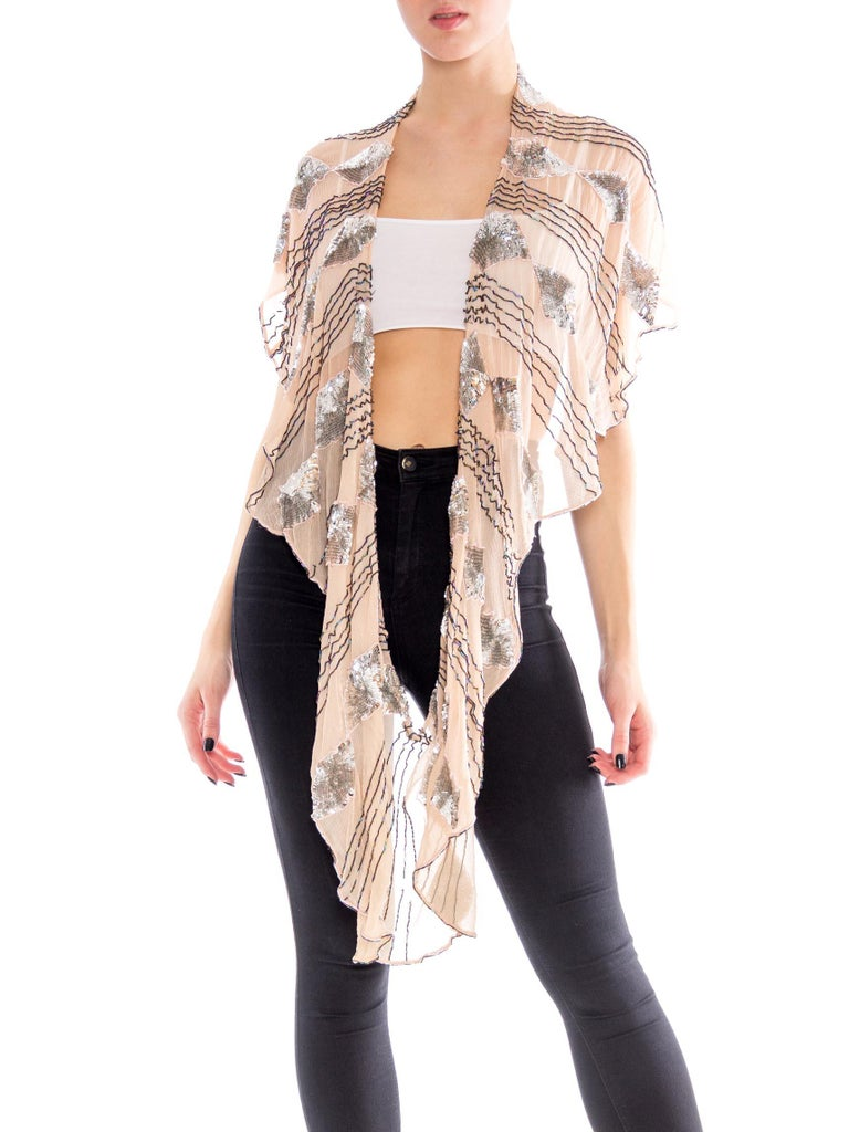 MORPHEW COLLECTION Blush Pink Silk Chiffon Scarf With Metallic Silver Sequins & Beads