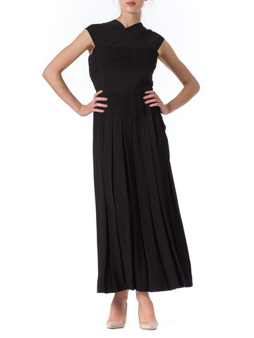 1940s Black Silk Crepe Pleated Sleeveless Maxi Dress