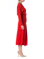1940s Red Beaded Neckline Structured Batwing Sleeve Dress