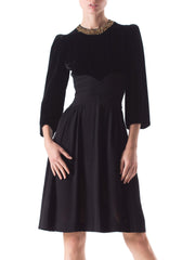 1930s Silk Velvet and Crepe Little Black Dress