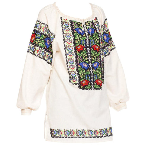 Eastern European Hand Embroidered Cotton Folk Blouse with Beads