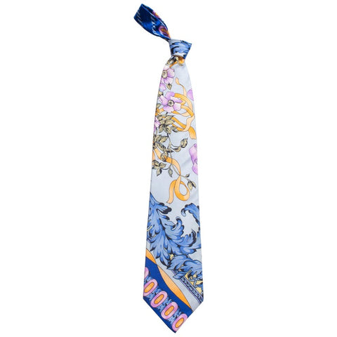 1990s Gianni Versace Pastel Baroque Gold, Blue & Purple Men's Silk Tie