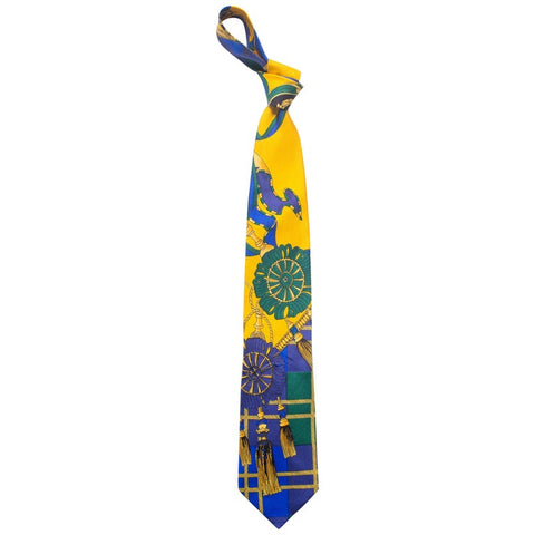 1990S Gianni Versace Scottish Tassels Silk Mens Tie