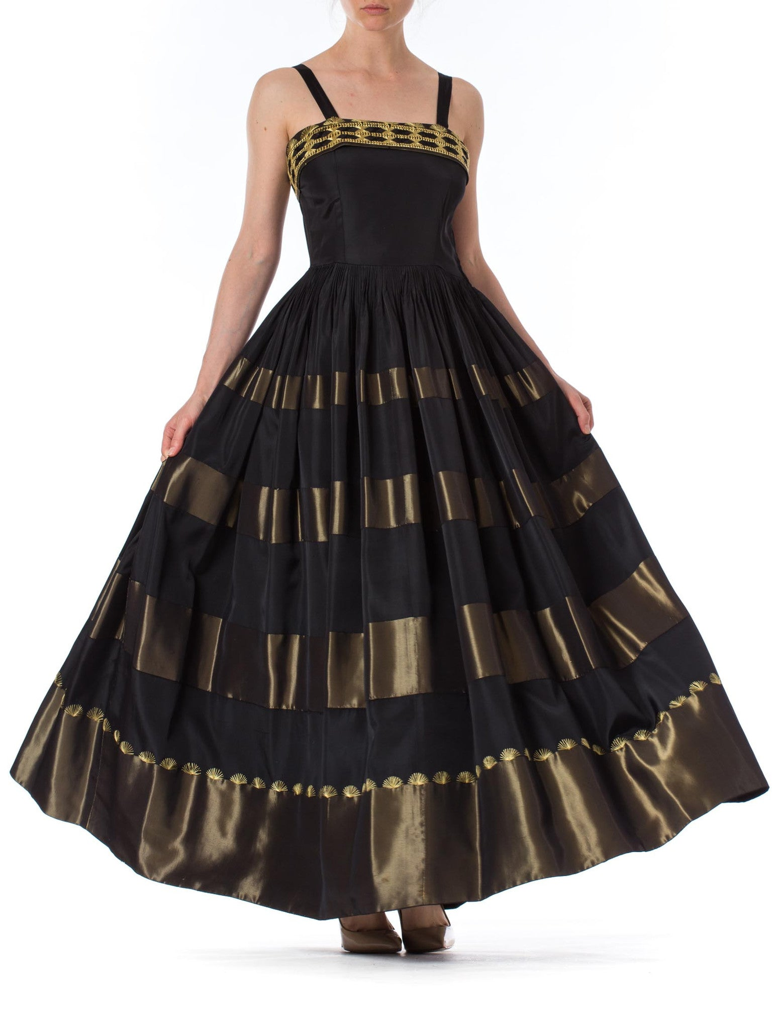 1940S Black & Gold Rayon Taffeta Ball Gown With Hand Embroidered Hem Bodice