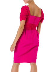1980s Pleated Detail Short Sleeve Bright Pink Dress