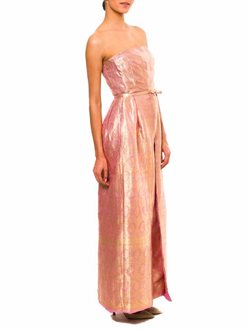 1960S Pink Silk & Gold Lame Jacquard Strapless Gown With Detachable Skirt Cape