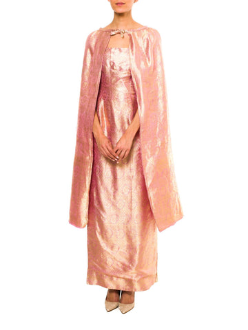 1950s Silk And Lamé Evening Dress And Cape