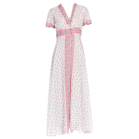 1930S Pink & Blue Floral Cotton Voile Bias Cut Negligee Slip Dress Robe