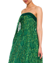 Soft Emerald Green Bulbous Sleeveless Dress With Couture Finishings