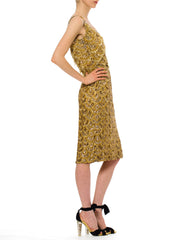Early 1960s Beaded Gold Fringe Bombshell Mermaid Dress