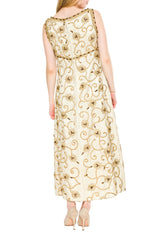 1960S Gold Lamé Rayon Blend Beaded Floral Gown With Crystals