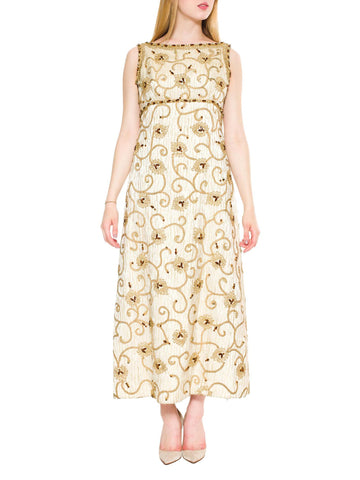 1960S Gold Lamé Rayon Blend Jacquard Gown With Embroidered Rope Vines & Crystal Flowers