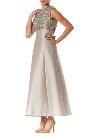 1960S GIBSON BAYH COUTURE Oyster Grey Silk Radzimir Half Empire Waist Silver Gown With Beaded Bodice