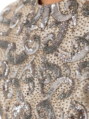 1960s Beaded Pewter Silk Gown
