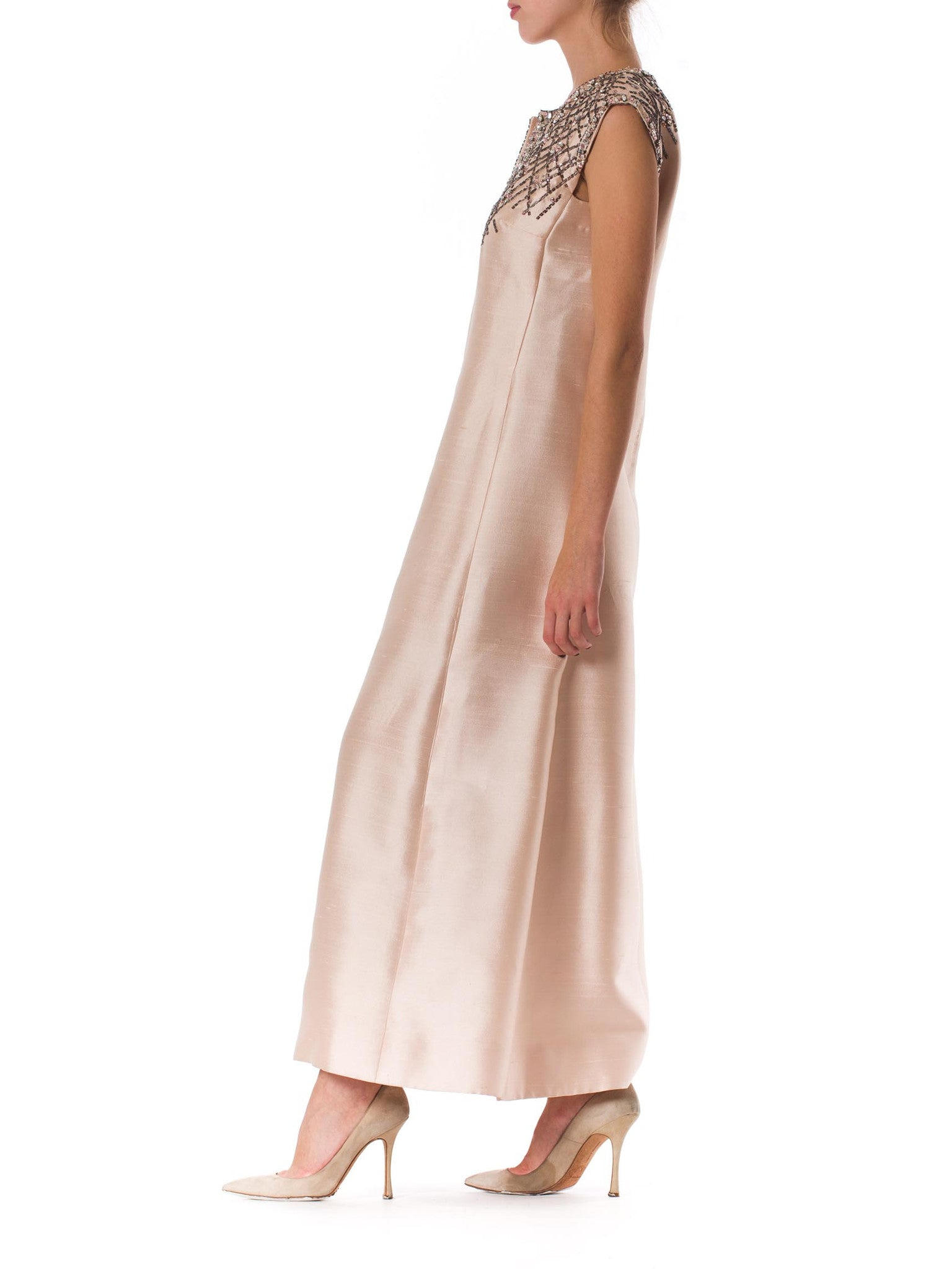1960S CHRISTIAN DIOR Style Baby Pink Silk Blend Radzimir Crystal Encrusted Mod Gown