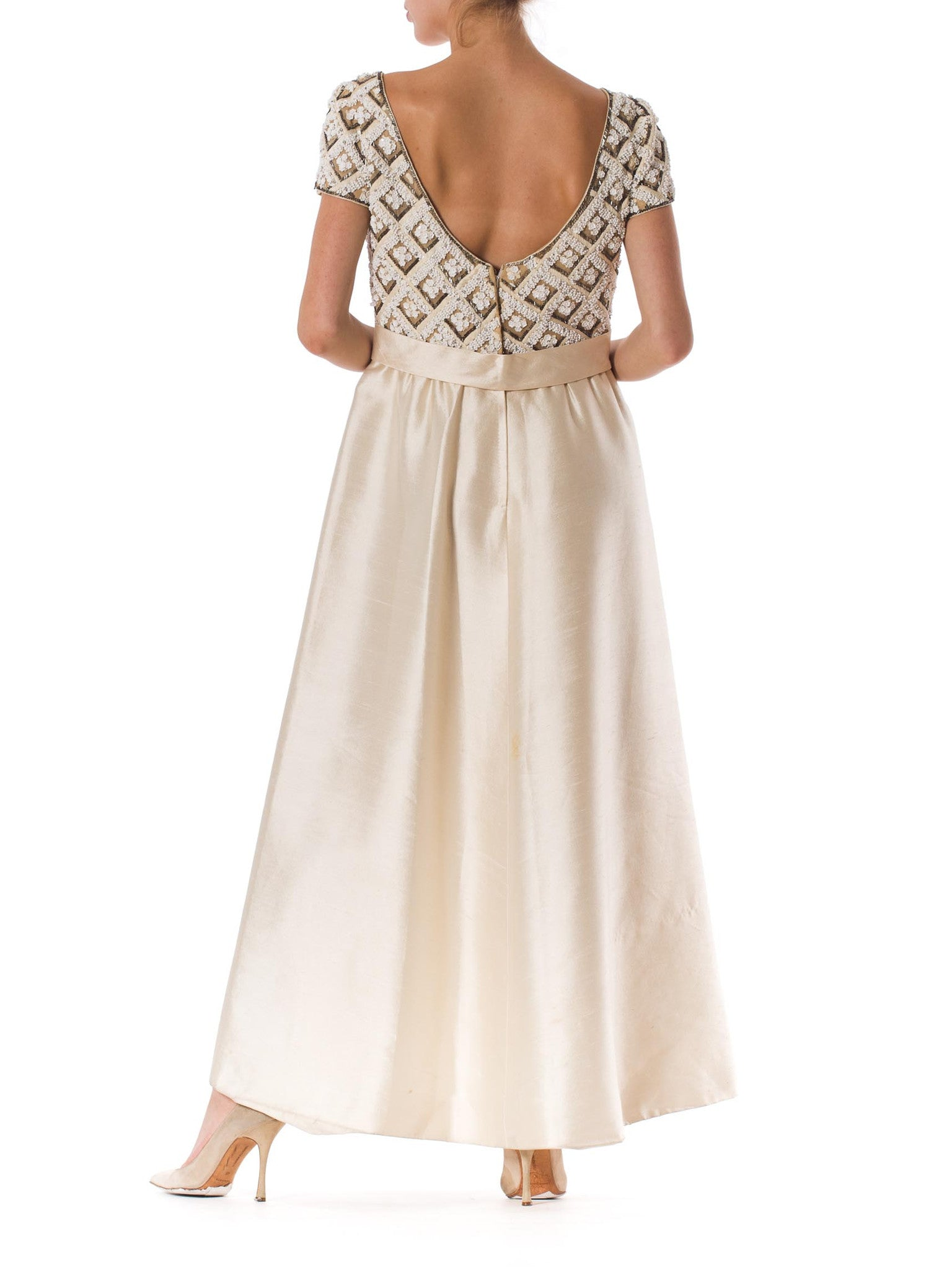 1960S Ivory Beaded Silk Radzimir Cap Sleeve Couture Detailed Gown With Slight Empire Waistline & Waist Bow