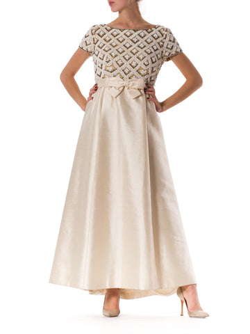 Ruth Young Silverman  Cream 1960s Beaded Gown