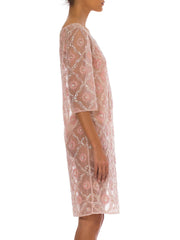 1960s Light Pink Hand Beaded Pearl Cocktail Sheer Midi Dress