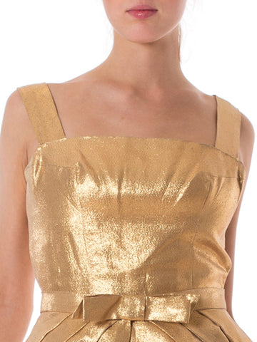 1950S Aceate Lurex Knockout Rockabilly Gold Lamé With Detachable Over Skirt