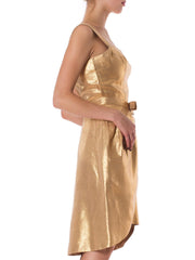 Knockout Rockabilly 1950s Gold Lamé with Detachable Over Skirt