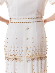 1950s Italian Linen Dress With Wooden Beading