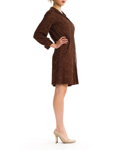 1960S Chocolate Brown Hand Beaded Silk Chiffon Long Sleeve Cocktail Shirt Dress