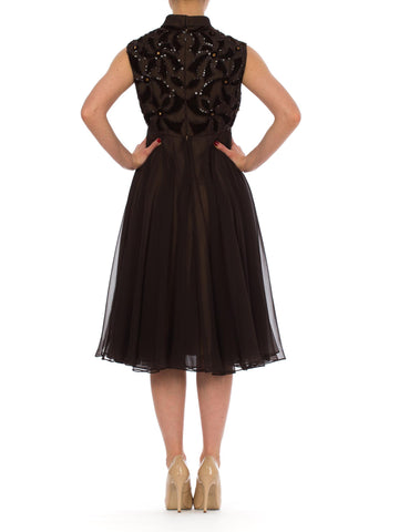 1950S Brown Poly/Rayon Chiffon Beaded Empire Waist Cocktail Dress With Velvet Appliqués