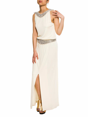 Beaded And Pearled Silk Jersey Goddess Gown