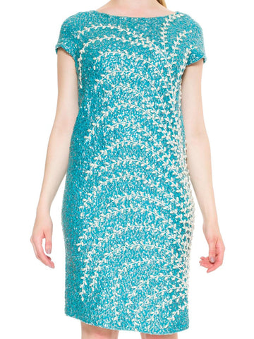 1960S Aquamarine Blue Wool Knit Hand Beaded Wiggle Cocktail Dress