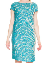Refined Vibrant Turquoise Knit Beaded Dress