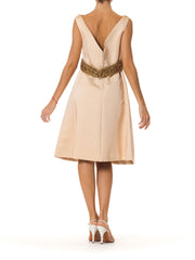 Structured 1960s Dress with Beaded Belt Detail